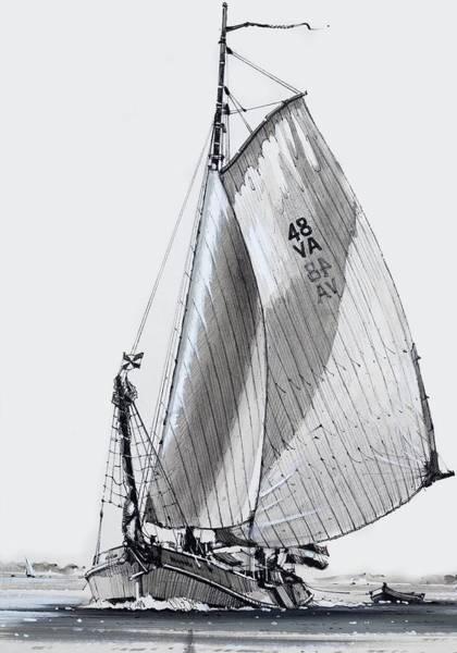Set Sail Painting - Sailing Barge by John S Smith