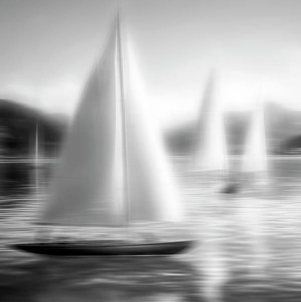 Photograph - Sailing Black And White Abstract Square by Debra and Dave Vanderlaan