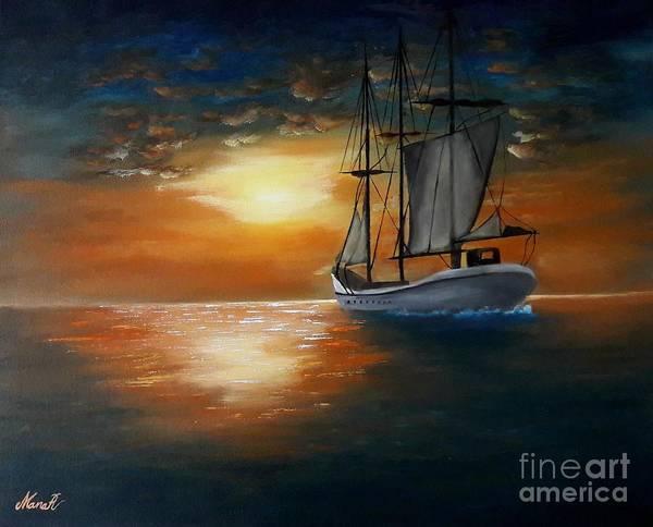 Painting - Sailing Boat by Manar Hawsawi