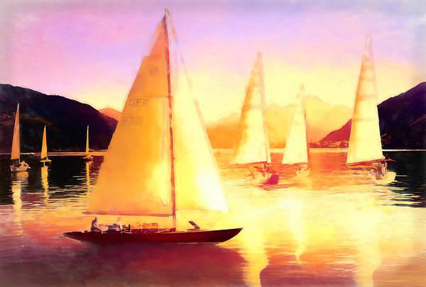 Digital Art - Sailing In Golds by Debra and Dave Vanderlaan