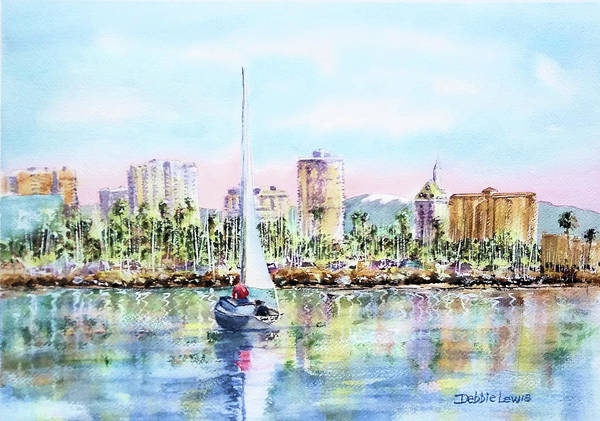 Painting - Sailing Into Downtown Long Beach by Debbie Lewis