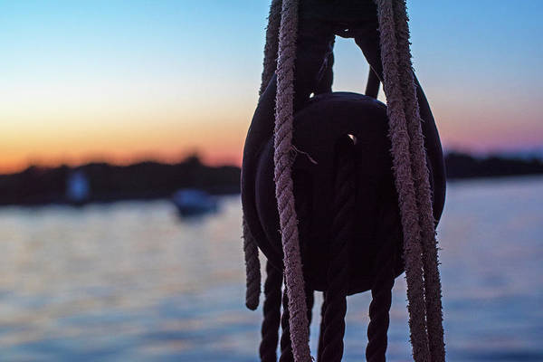 Photograph - Sailing Into Salem Harbor At Sunset Salem Ma Rope Detail by Toby McGuire