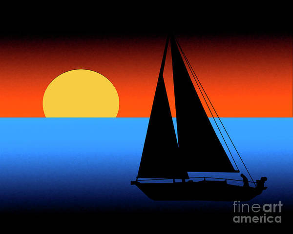 Digital Art - Sailing Into The Sunset by Kirt Tisdale
