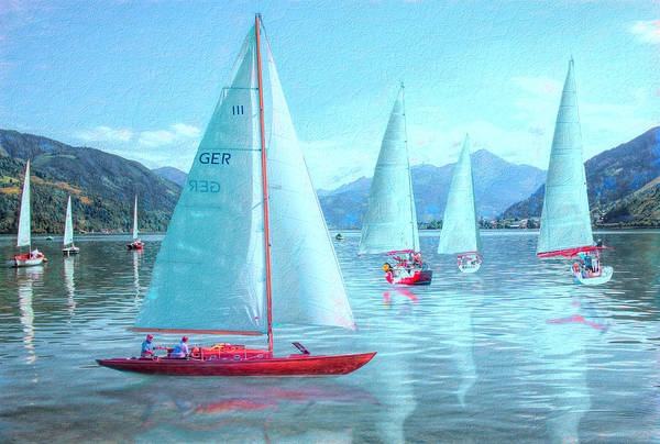 Photograph - Sailing Nautical Blues Painting by Debra and Dave Vanderlaan