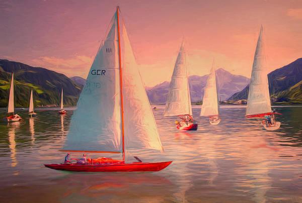 Wall Art - Digital Art - Sailing Oil Painting by Debra and Dave Vanderlaan