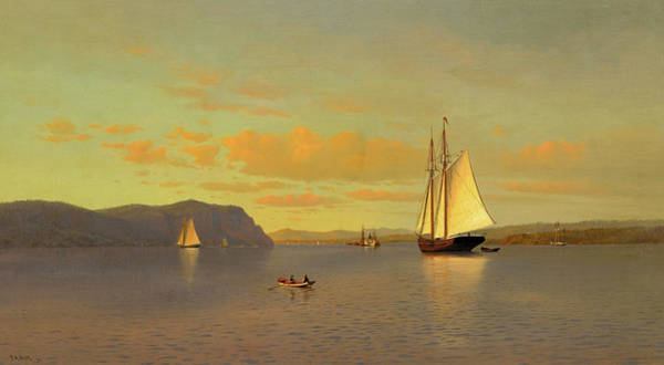 Wall Art - Painting - Sailing On The Hudson Near Nyack, 1872 by Francis Augustus Silva