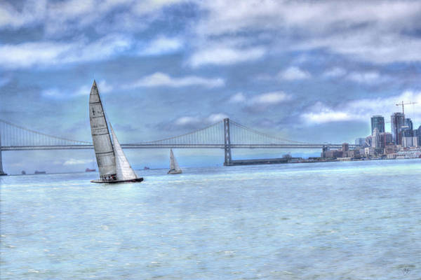 Mixed Media - Sailing The Bay Bridge by Wayne King