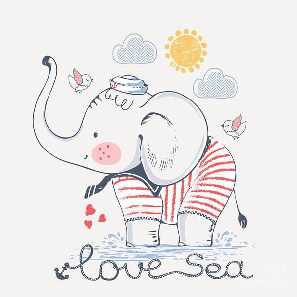 Sailor Elephant, Hand Drawn Vector Art Print