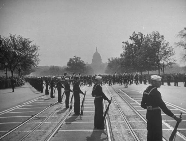 Funeral Photograph - Sailors Lining Constitution Avenue For by Alfred Eisenstaedt