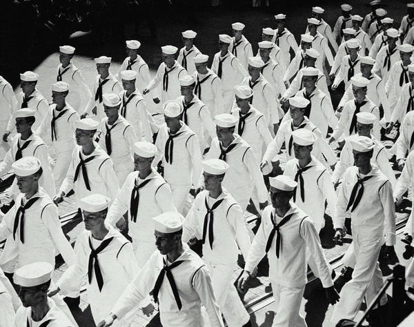 Marching Photograph - Sailors On Parade by Archive Holdings Inc.
