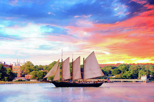 Photograph - Sails In The Wind At Sunset On The York River by Ola Allen