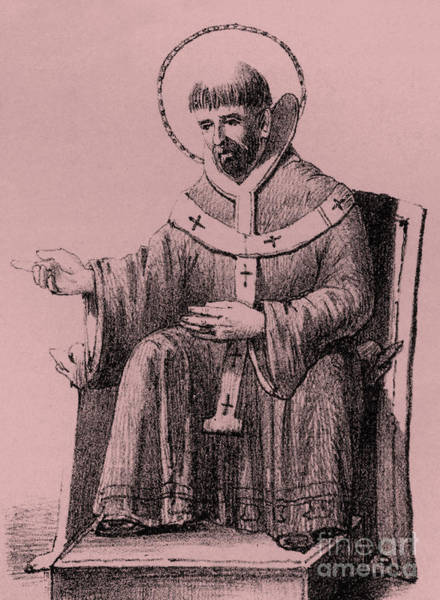Wall Art - Drawing - Saint Augustine 354-430, Bishop Of Hippo, by English School