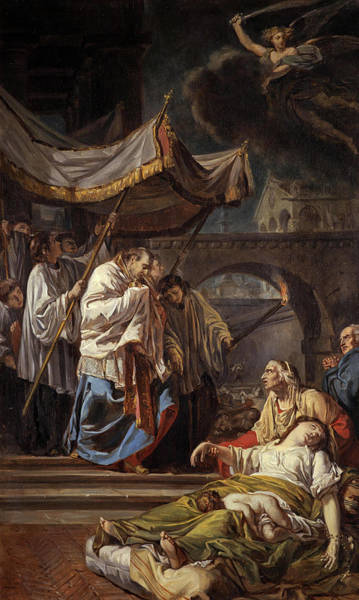 Assistance Painting - Saint Charles Borromeo Bringing The Assistance Of Religion To The Plague Victims Of Milan, 1785 by Anicet-Charles-Gabriel Lemonnier