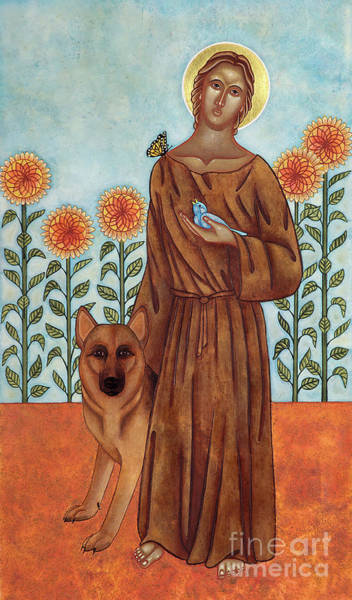 Wall Art - Painting - Saint Francis And The Wolf Of Gubbio by Jodi Simmons
