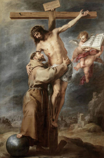 Golgotha Painting - Saint Francis Embracing Christ, 1669 by Bartolome Esteban Murillo