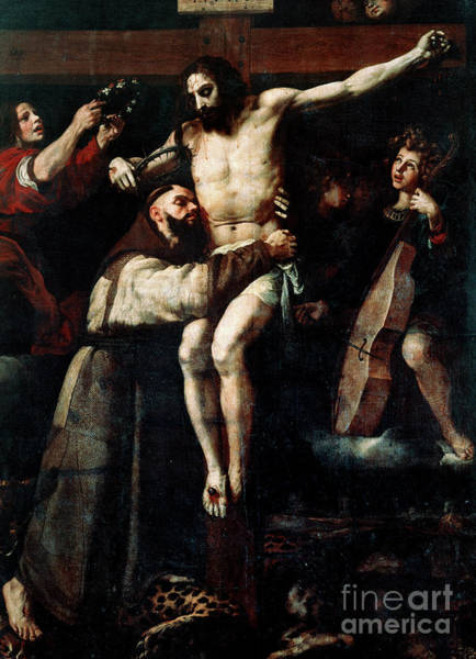 Wall Art - Painting - Saint Francis Of Assisi Embracing The Crucified Christ by Francisco Ribalta