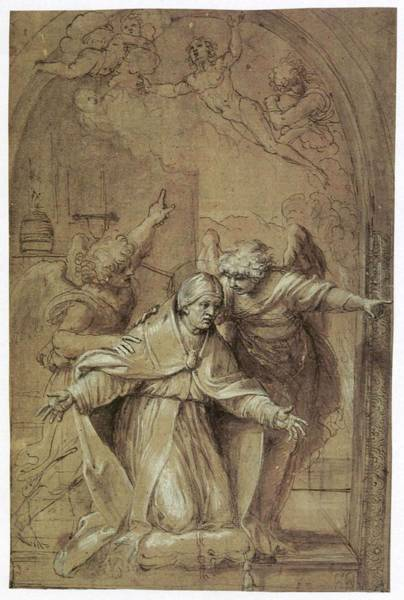 Wall Art - Painting - Saint Gregory Praying For Souls In Purgatory  by Annibale Carracci