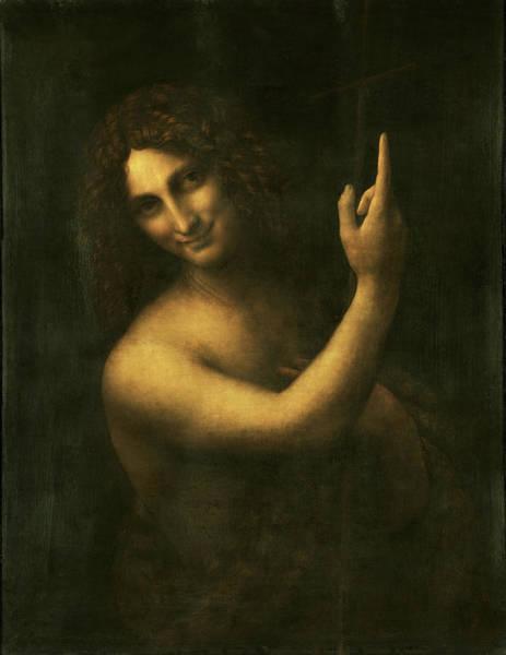 Wall Art - Painting - Saint John The Baptist - Digital  Restored Edition by Leonardo da Vinci
