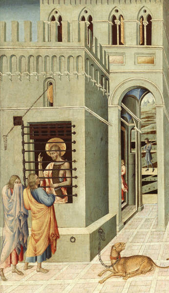 Disciple Wall Art - Painting - Saint John The Baptist In Prison Visited By Two Disciples by Giovanni di Paolo