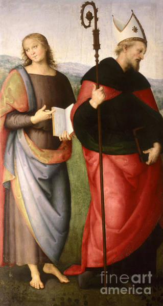 Wall Art - Painting - Saint John The Evangelist And Saint Augustine by Pietro Perugino