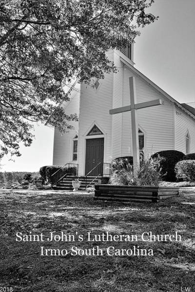 Photograph - Saint John's Lutheran Church Irmo South Carolina Black And White by Lisa Wooten