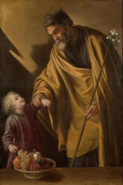 Almond Painting - 'saint Joseph With The Christ Child'. Ca. 1650. Oil On Canvas. by Sebastian Martinez