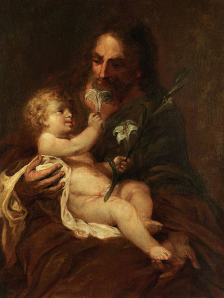 Wall Art - Painting - Saint Joseph With The Infant Saviour by Bartolome Esteban Murillo