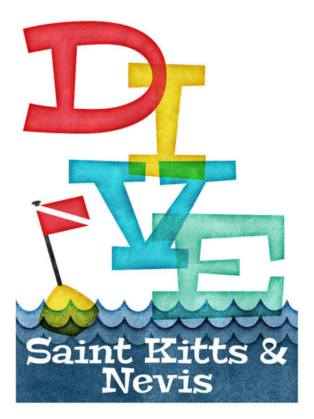 Wall Art - Digital Art - Saint Kitts Nevis Dive - Colorful Scuba by Flo Karp
