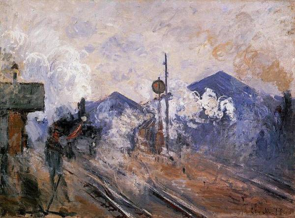 Lazare Painting - Saint-lazare Station, Track Coming Out, 1877 by Claude Monet