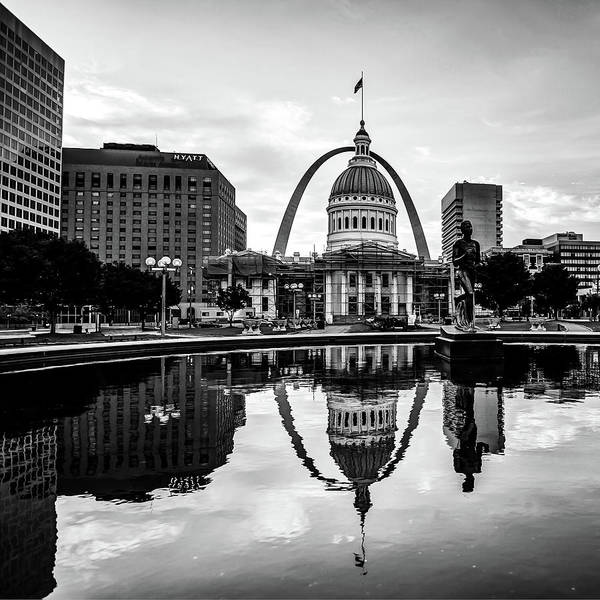 Photograph - Saint Louis Gateway Arch Reflections - Square Monochrome Edition by Gregory Ballos
