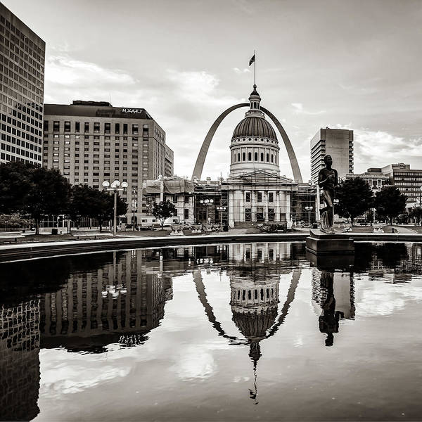 Photograph - Saint Louis Gateway Arch Reflections - Square Sepia Edition by Gregory Ballos