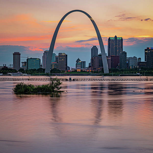 Wall Art - Photograph - Saint Louis Gateway Arch Skyline Over The Mississippi River 1x1 by Gregory Ballos