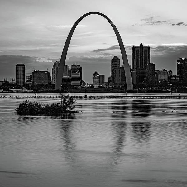 Wall Art - Photograph - Saint Louis Gateway Arch Skyline Over The Mississippi River - Monochrome 1x1 by Gregory Ballos