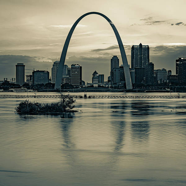 Wall Art - Photograph - Saint Louis Gateway Arch Skyline Over The Mississippi River - Sepia 1x1 by Gregory Ballos