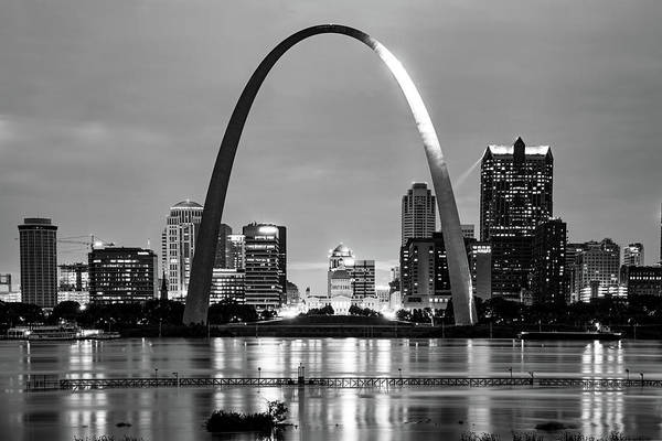 Photograph - Saint Louis Skyline And Arch Over The Mississippi River - Black And White by Gregory Ballos