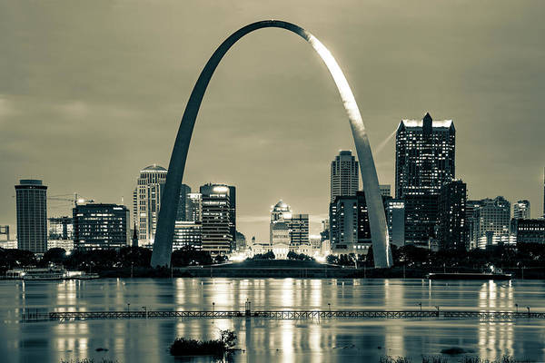 Photograph - Saint Louis Skyline And Arch Over The Mississippi River - Sepia by Gregory Ballos