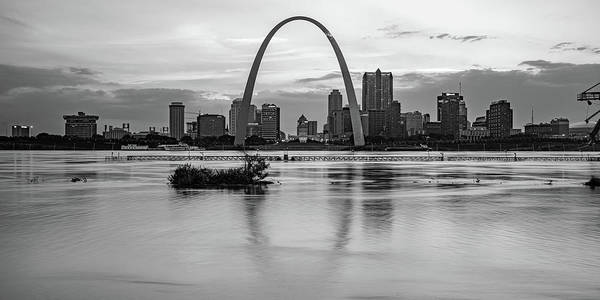 Wall Art - Photograph - Saint Louis Skyline Panorama - Black And White Monochrome by Gregory Ballos