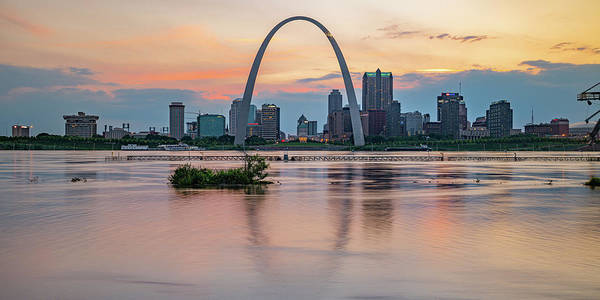 Wall Art - Photograph - Saint Louis Skyline Panorama Sunset by Gregory Ballos