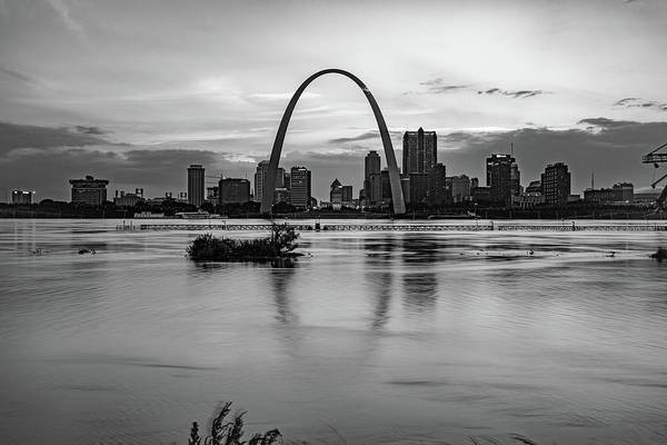 Wall Art - Photograph - Saint Louis Skyline Sunset Over Mississippi River - Monochrome by Gregory Ballos