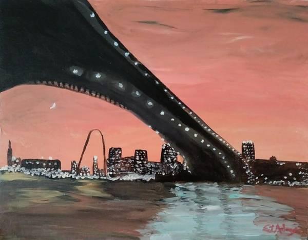 Gateway Arch Painting - Saint Louis Sunset Skyline by EL Adams