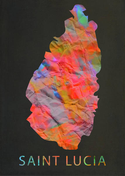 Wall Art - Mixed Media - Saint Lucia Tie Dye Country Map by Design Turnpike