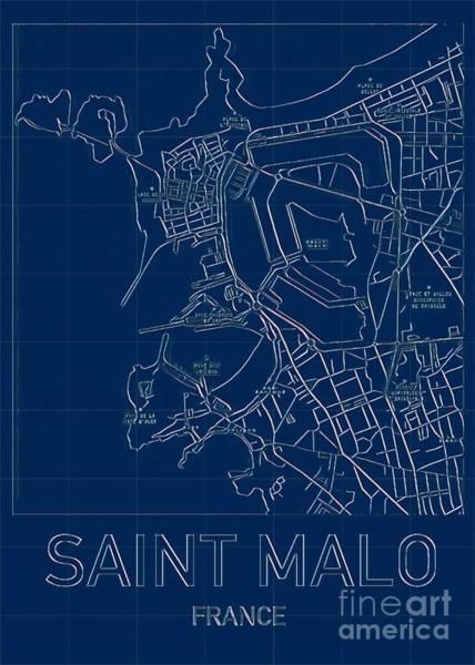 Digital Art - Saint Malo Blueprint City Map by Helge