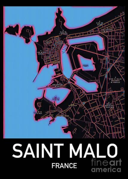 Digital Art - Saint Malo City Map by Helge