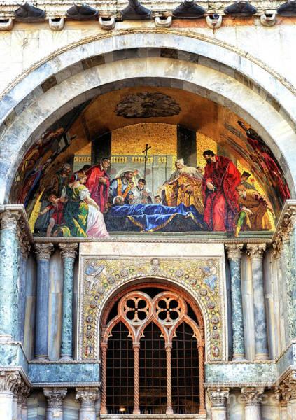 St Mark's Basilica Photograph - Saint Marks Body Venerated By The Doge Mosaic In Venezia by John Rizzuto