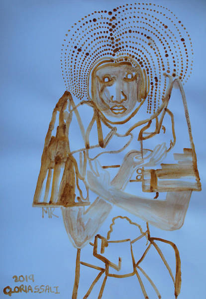 Wall Art - Painting - Saint Mary Divine Shepherdess Our Lady Of Africa by Gloria Ssali