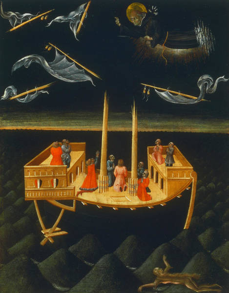Saving Painting - Saint Nicholas Of Tolentino Saving A Shipwreck by Giovanni di Paolo