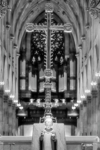 Photograph - Saint Patrict's Baby Jesus And Cross Bw by Susan Candelario