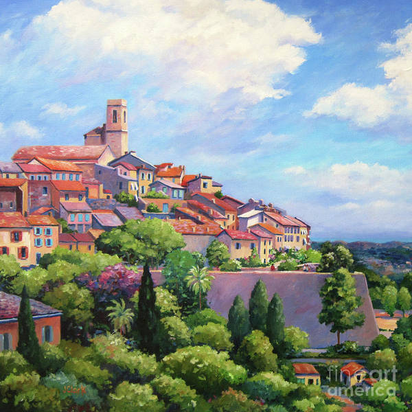 Campagne Painting - Saint Paul De Vence Square by John Clark