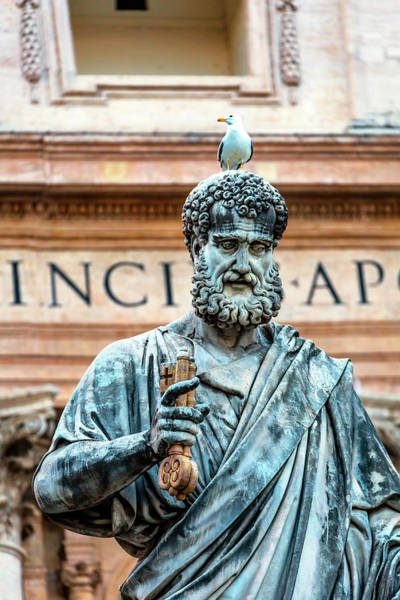 Wall Art - Photograph - Saint Peter Statue And Seagull by William Perry