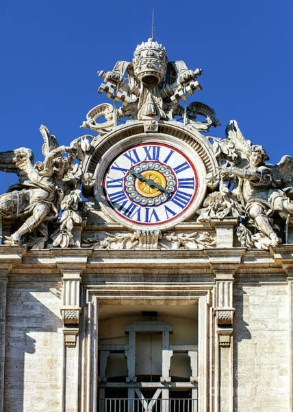 Photograph - Saint Peter's Basilica Clock In Vatican City by John Rizzuto